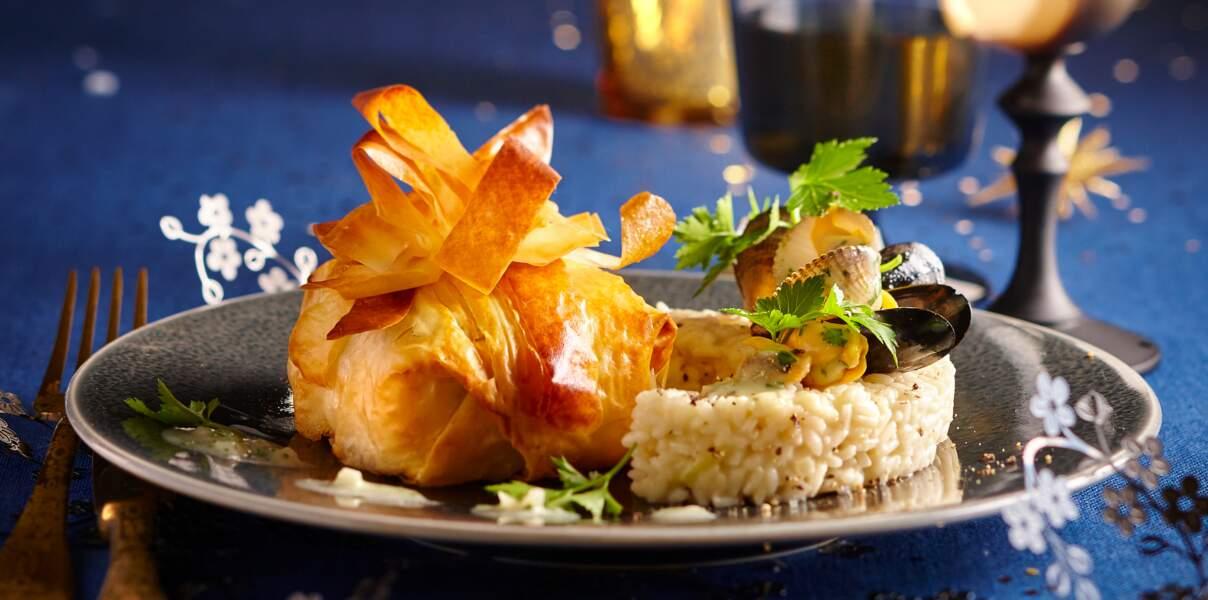 Aumônières de saumon, risotto et coquillages
