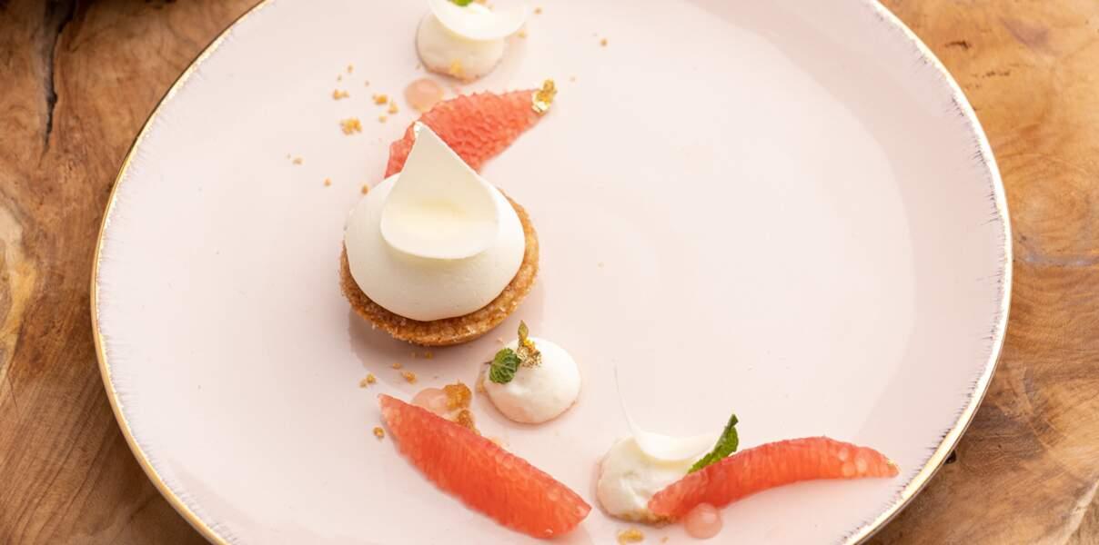Biscuit breton au crémeux de pamplemousse de Floride et chantilly vanille