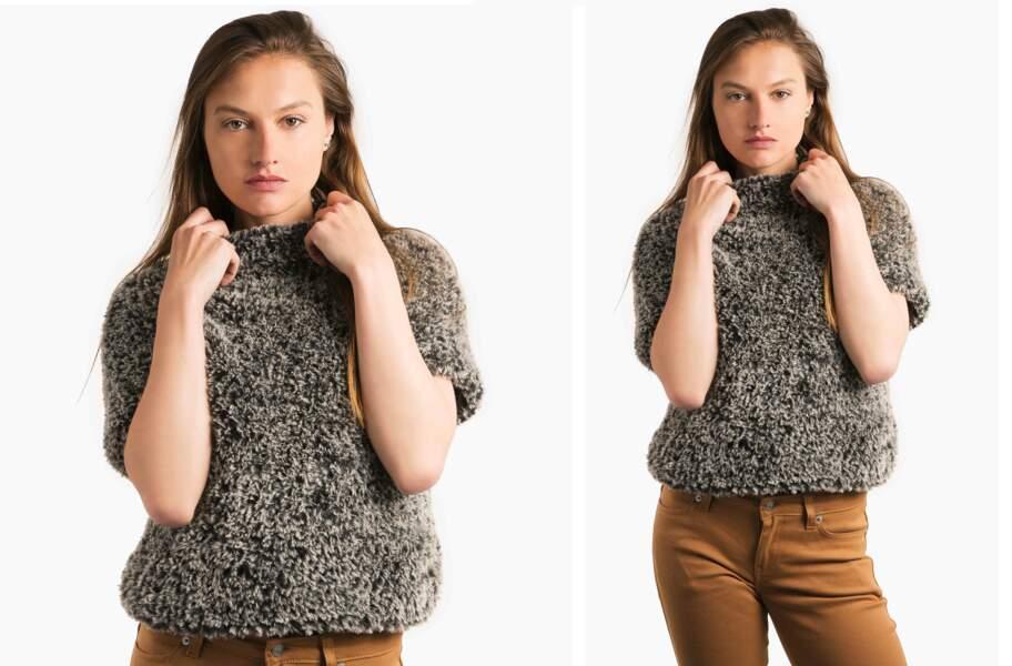 Tricot gratuit : le pull sans manches en point jersey