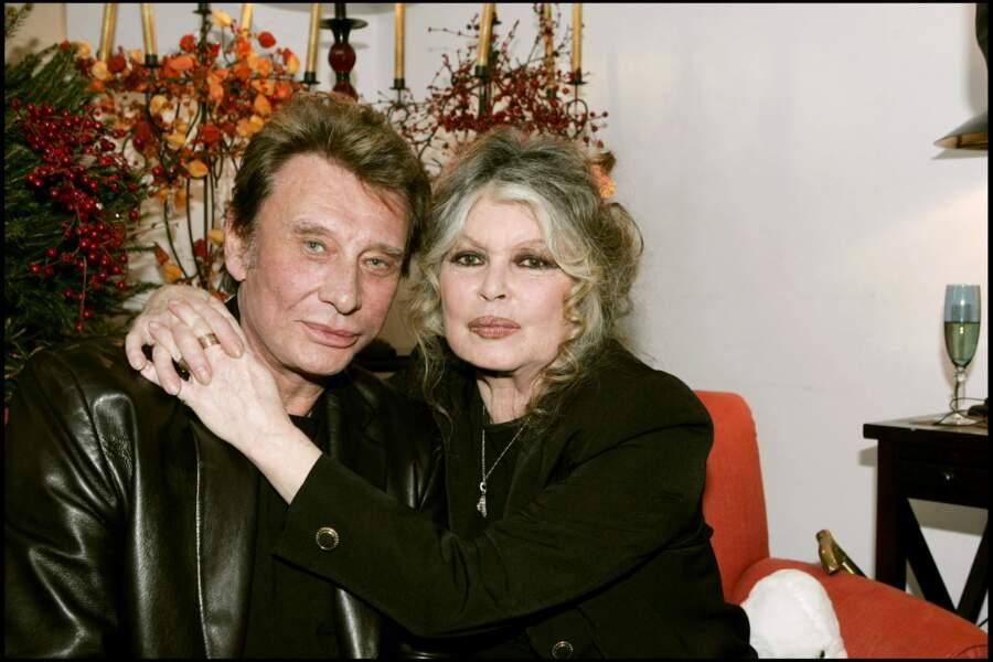 Johnny Hallyday et Brigitte Bardot en 2004