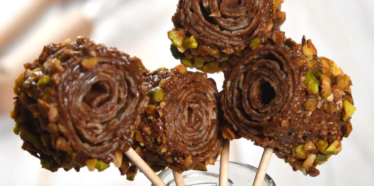 Sucettes de crêpes praliné pistaches