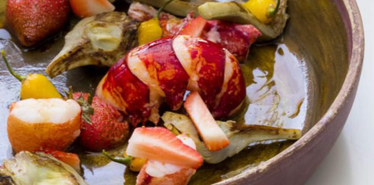 Homard en cocotte et fraises gariguette, artichaut poivrade