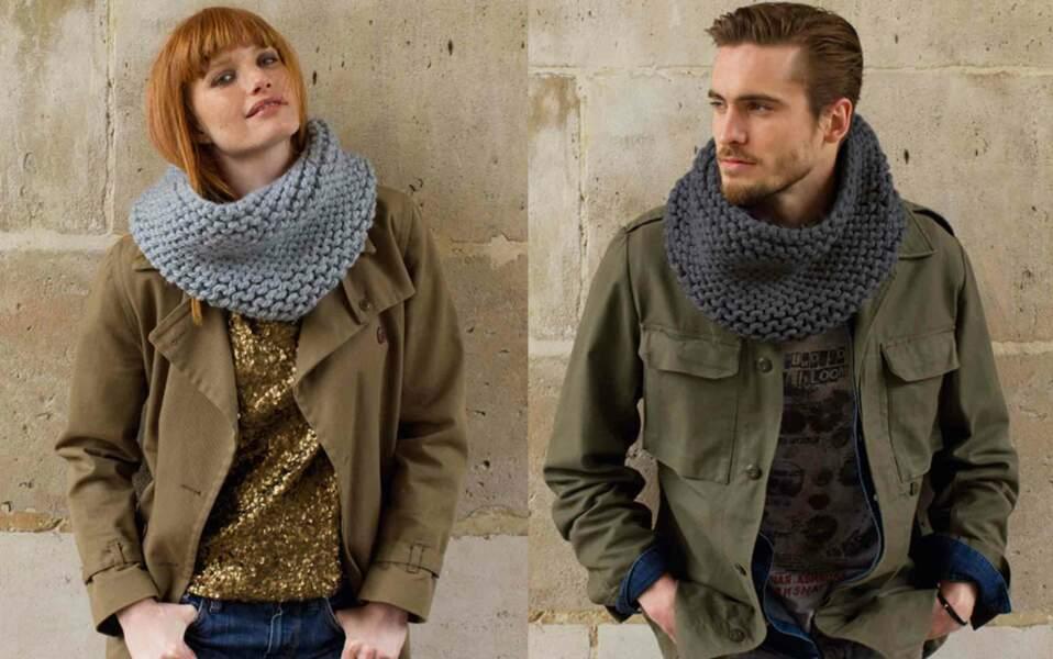 Modèle de tricot gratuit : le snood mixte au point mousse