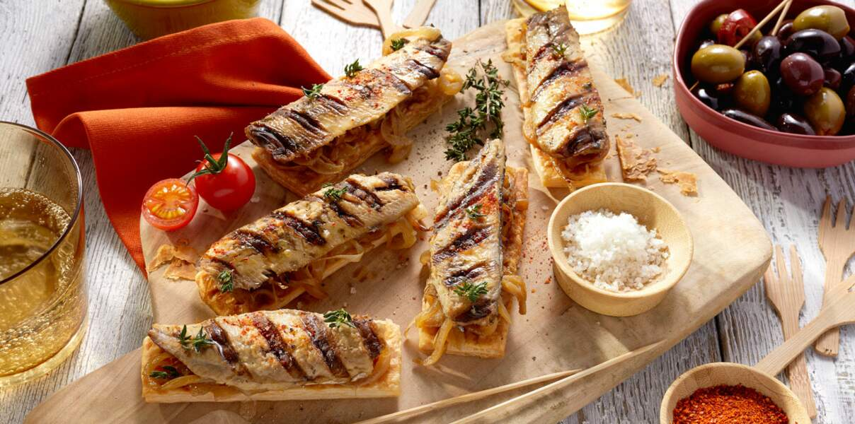 Pissaladières de sardines grillées aux herbes de Provence