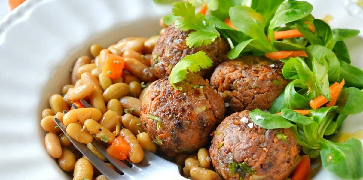 Flageolets cuisinés & boulettes d'agneau épicées