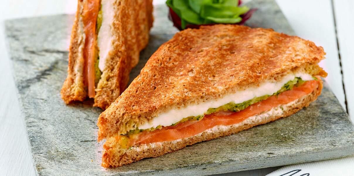 Croque-monsieur au saumon et mozzarella