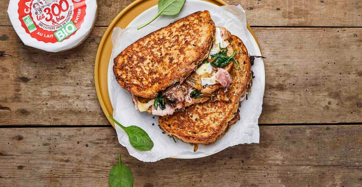 Croque-monsieur façon pain perdu au camembert