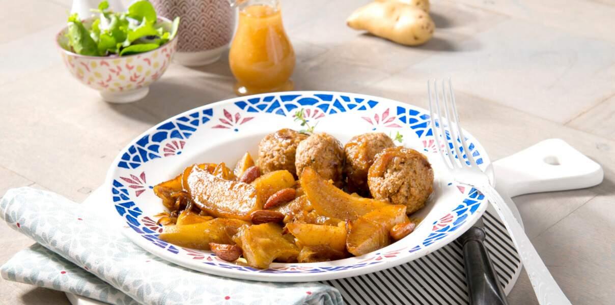 Rattes du Touquet safranées au miel et boulettes d'agneau