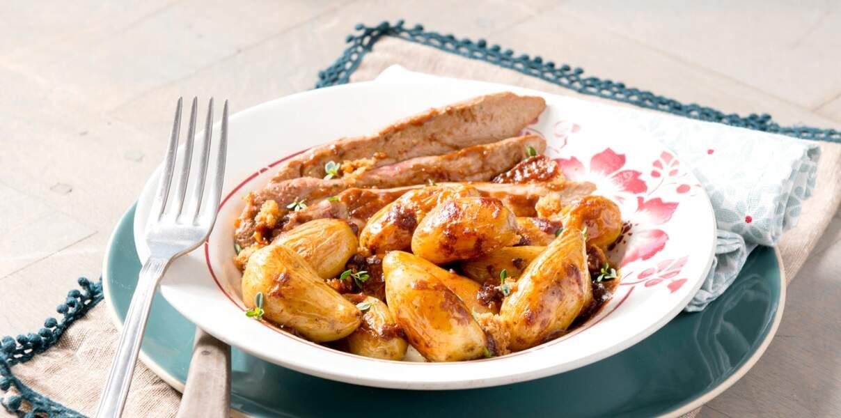 Aiguillettes de canard sauce miel, pain d'épice et rattes du Touquet
