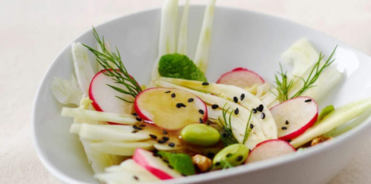 Salade de fenouil et noix avec sauce soja ponzu