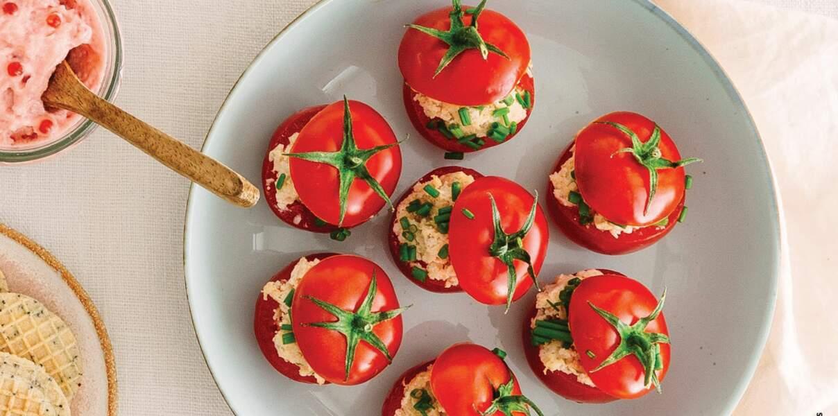 Mini tomates farcies aux rillettes de rouget-barbet
