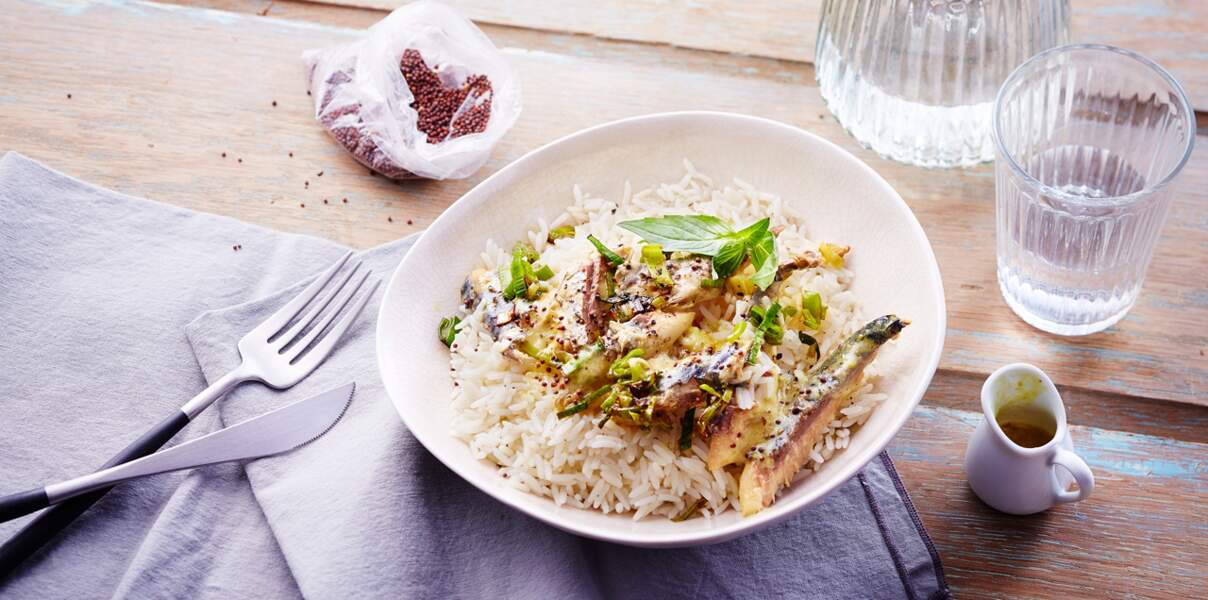 Riz sauce crémeuse aux filets de maquereaux