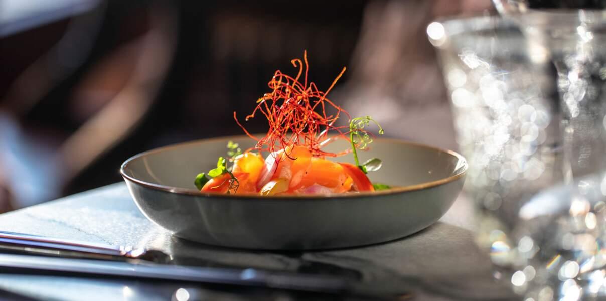 Tataki de saumon au miel et à la moutarde karashi miso