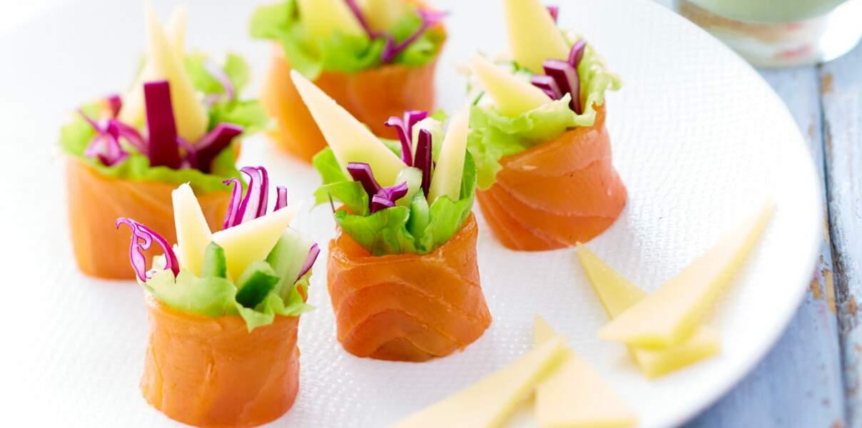 Maki express au gruyère AOP suisse, saumon fumé et légumes de saison