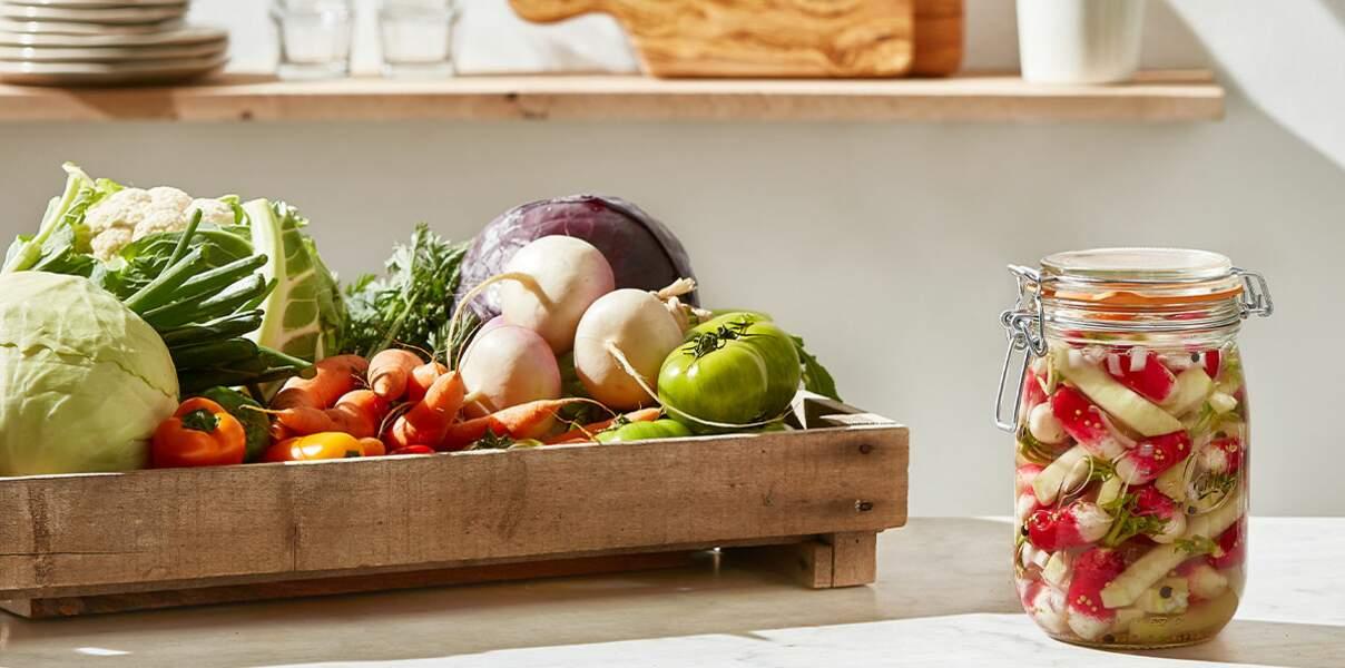 Pickles de radis et chou-rave