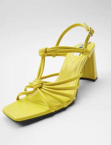 Sandales bout carré : jaune et avec un noeud