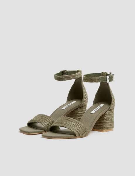 Sandales bout carré : en jute et kaki