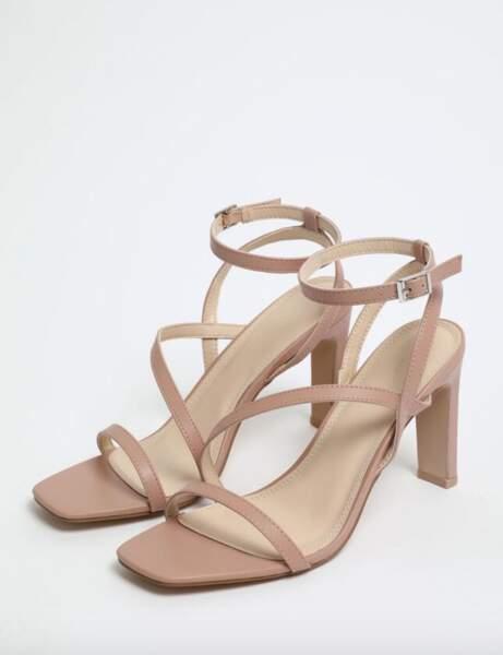 Sandales bout carré : à talons et nude