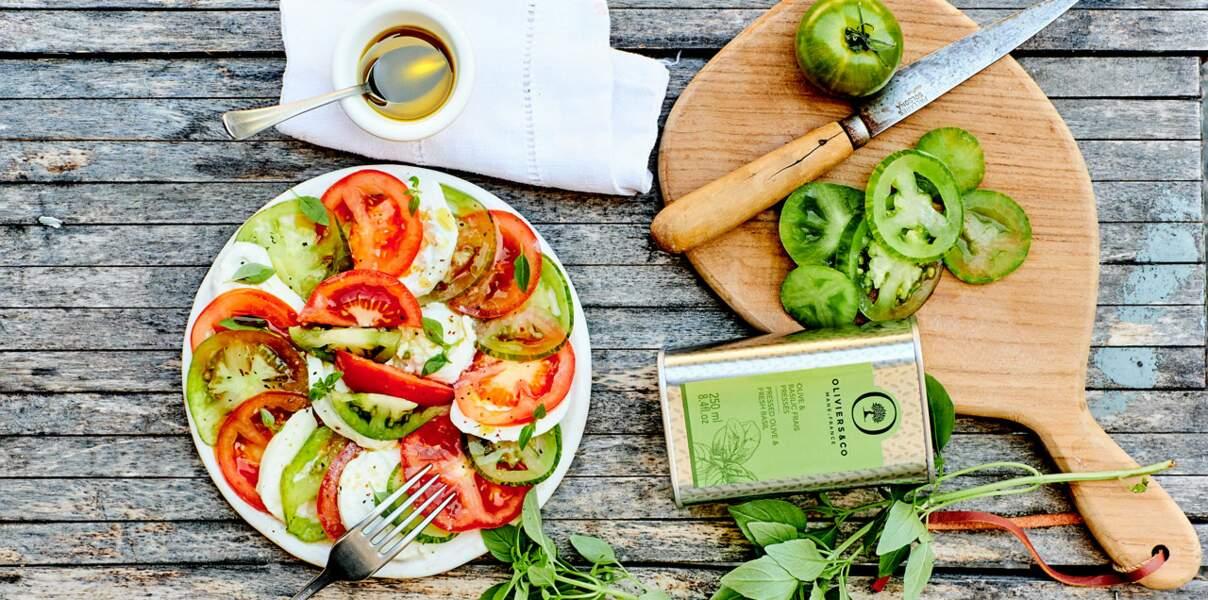 Salade de tomates vertes et feta grillée