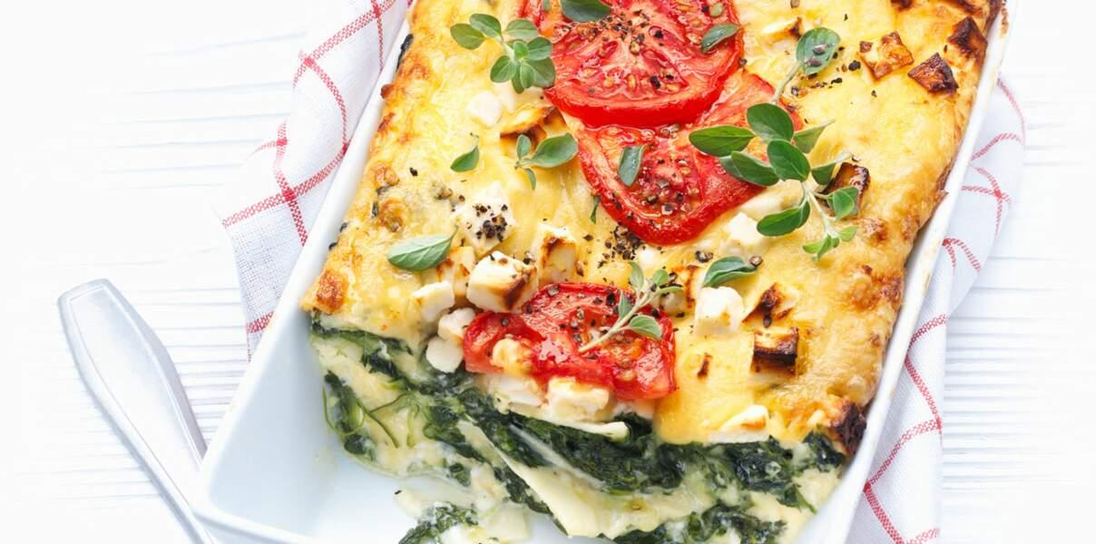 Lasagne aux épinards et à la feta