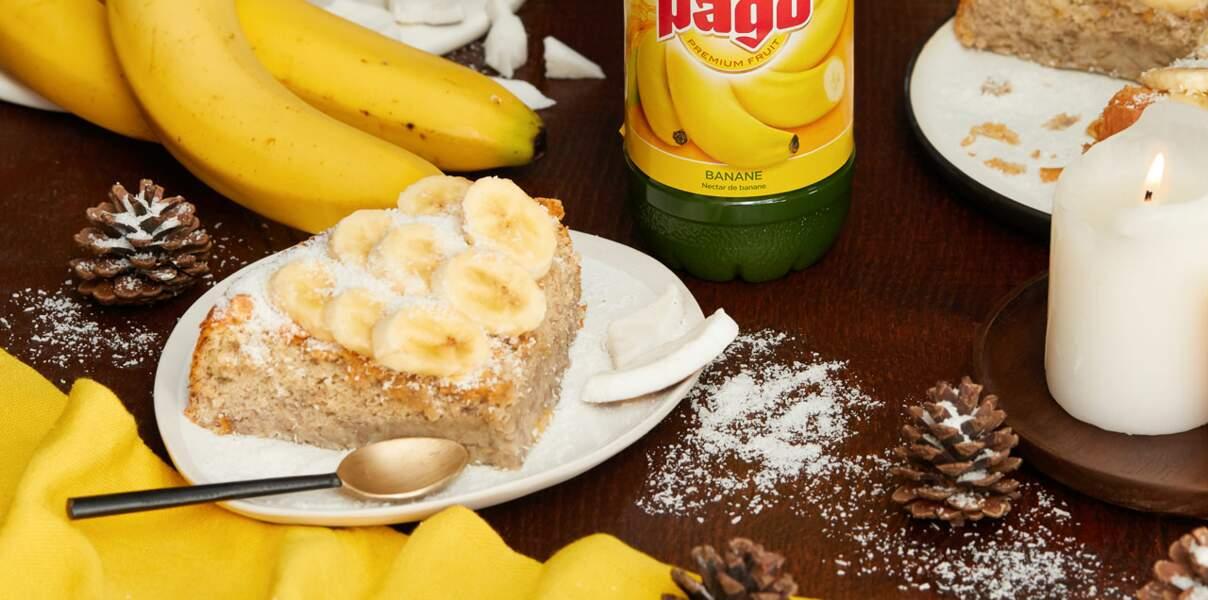 Moelleux fondant à la banane et à la noix de coco