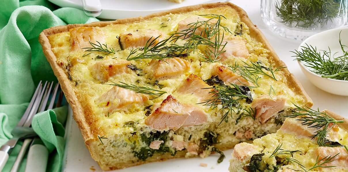 Quiche complète quinoa saumon
