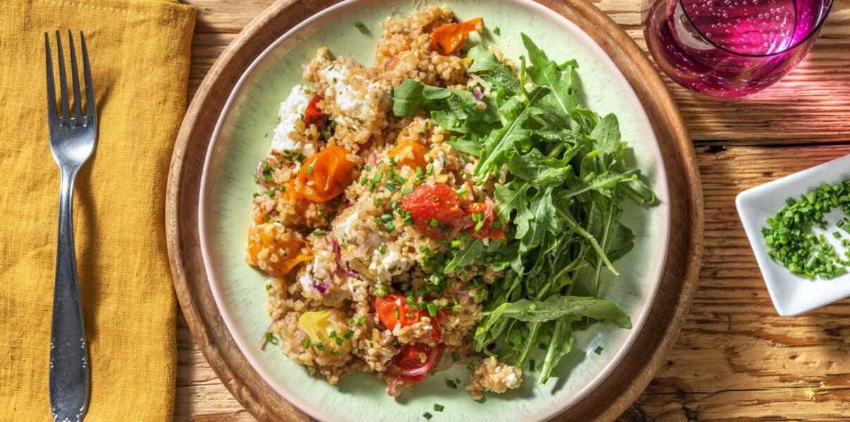 Salade de tomates confites et feta rôtie à l'origan