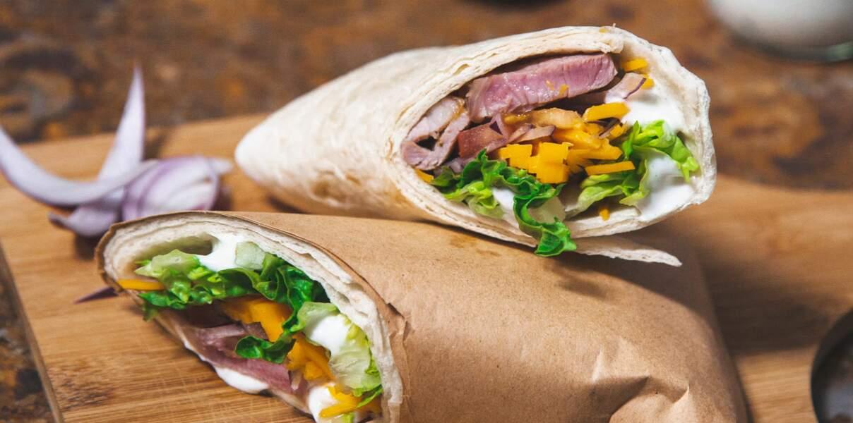 Wrap méditerranéen d'agneau bio et légumes croquants
