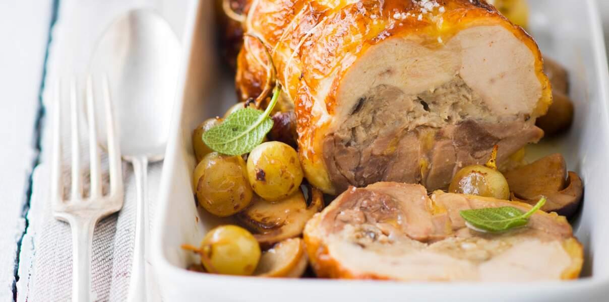 Roulade de porc aux cèpes et raisins blancs