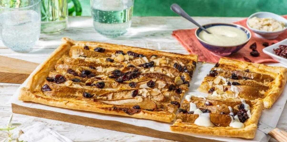 Tarte aux poires, amandes et canneberges