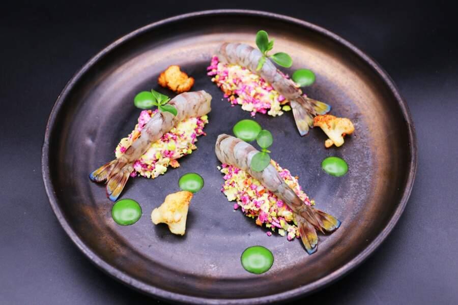 Crevettes impériales au naturel, mousseline de chou-fleur et noisettes du jardin