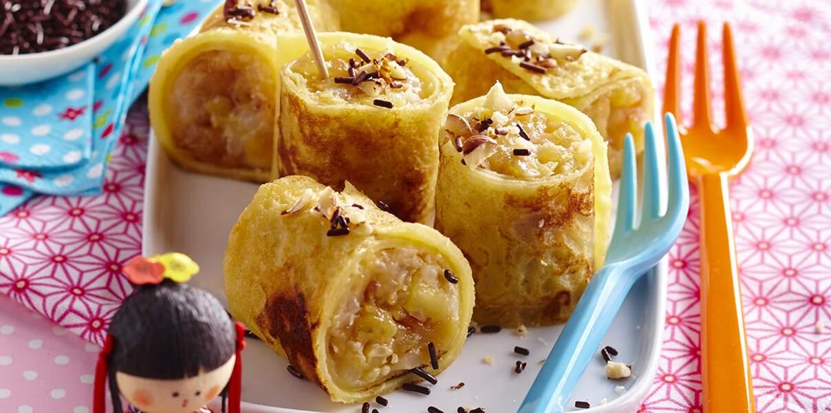 Makis de crêpes coco-pomme-banane