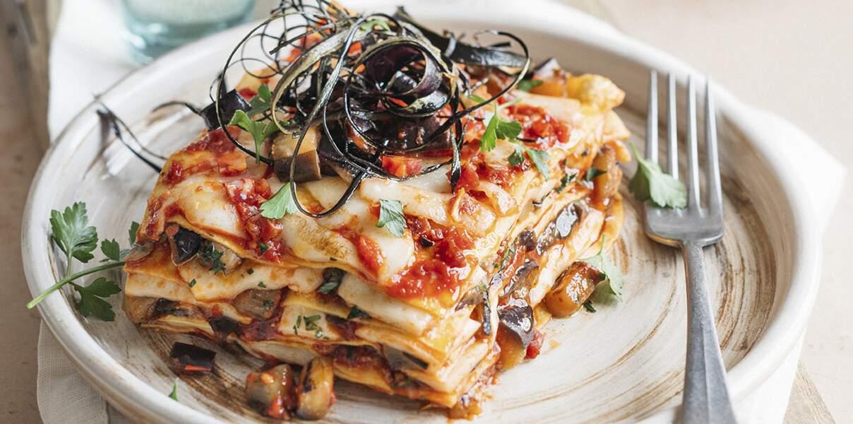 Lasagnes aux aubergines et à la mozzarella fumée