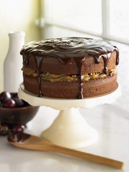 Gâteau au chocolat, crème de marron et fruits secs