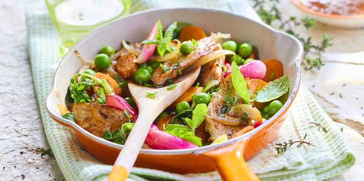 Poêlée de veau aux légumes du printemps