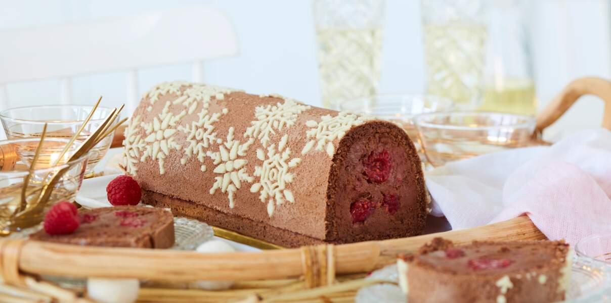 Bûche au chocolat et à la framboise