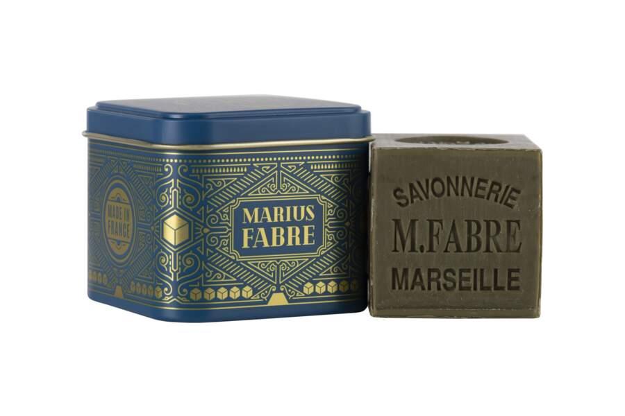 Boîte métal cube or et savon de Marseille de Marius Fabre