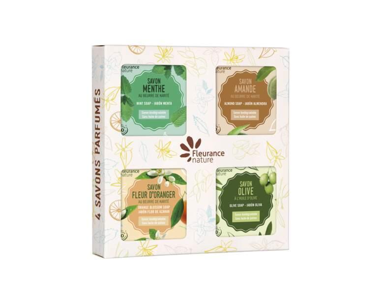 Coffret de quatre savons parfumés de Fleurance nature
