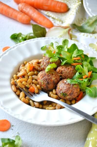Flageolets cuisinés Vivien Paille & boulettes d'agneau épicées