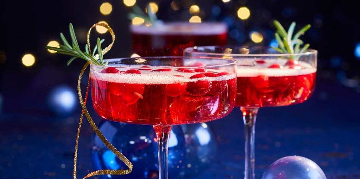 Cocktail pétillant cranberries et limoncello