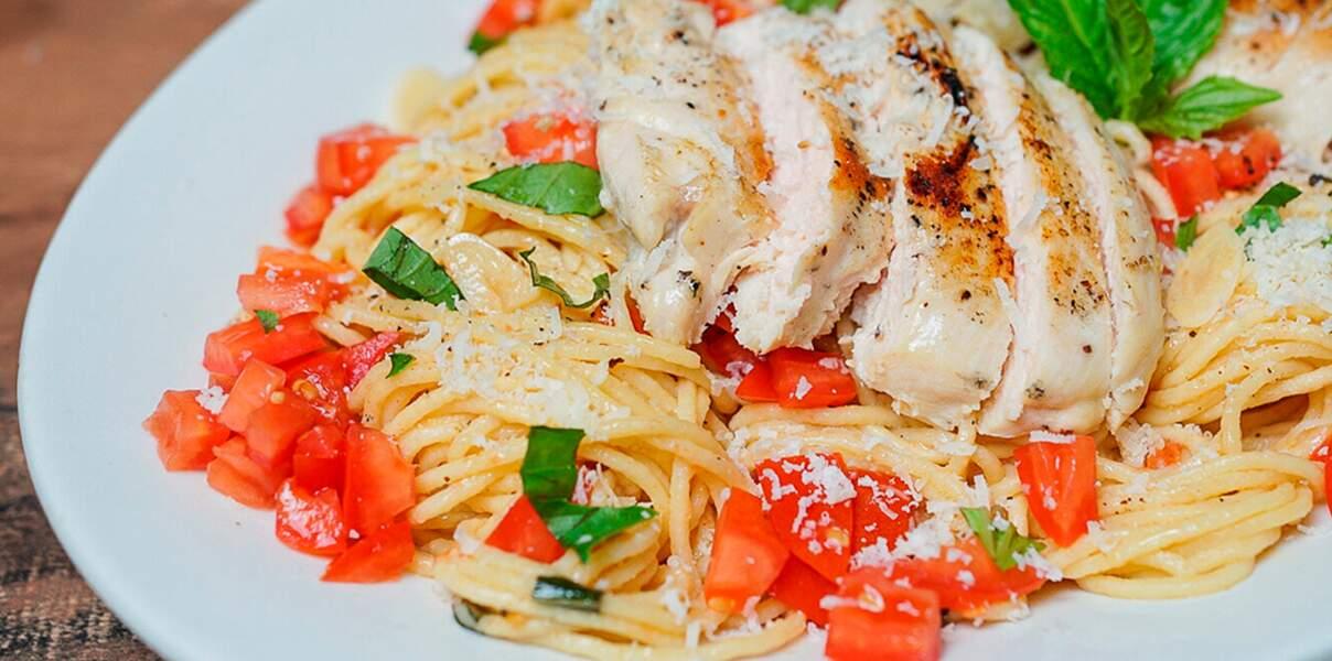 Poulet et spaghettis façon bruschetta