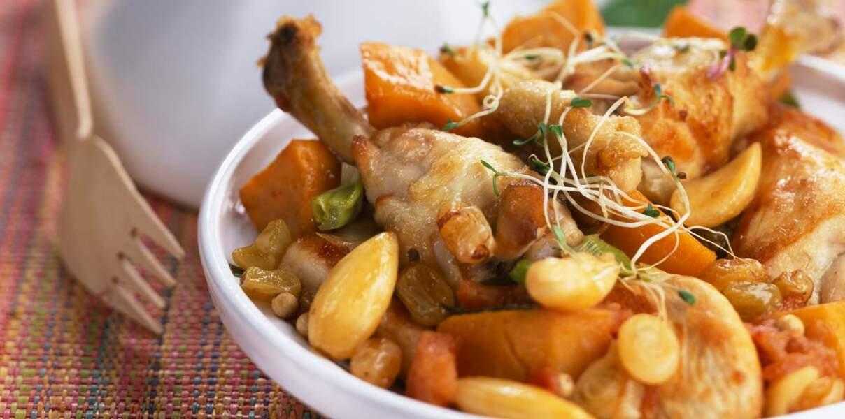 Tajine de poulet aux patates douces et aux raisins