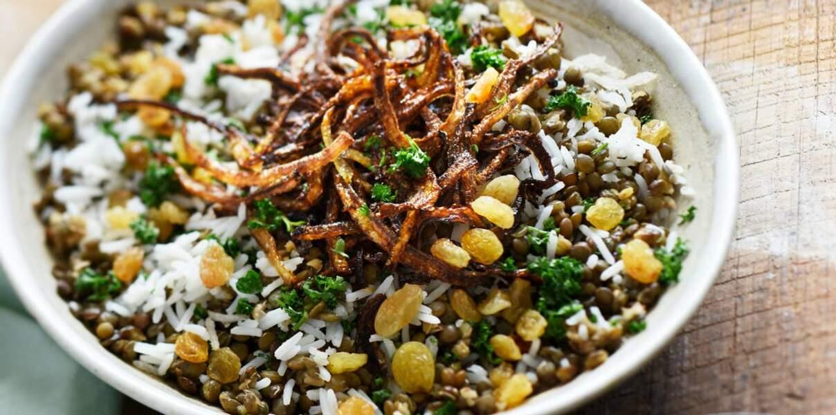 Duo de lentilles et riz aux oignons frits