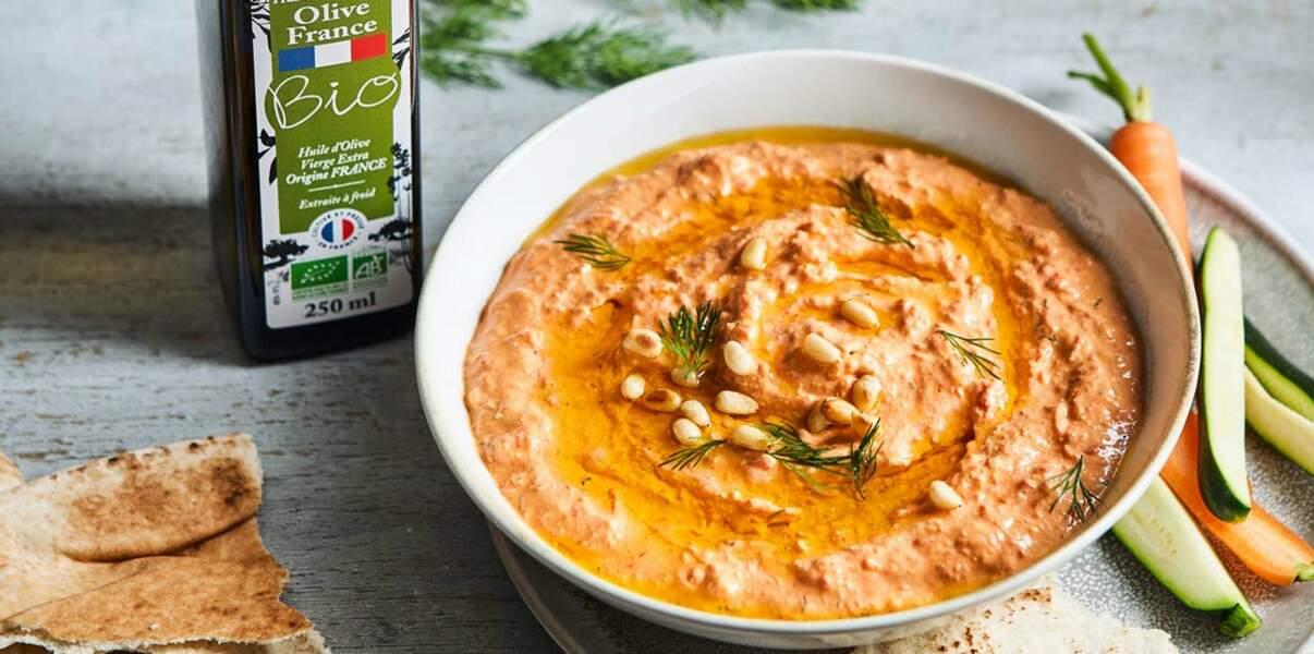 Crème de poivrons à la feta et à l'huile d'olive