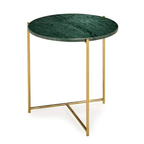 Table d'appoint en marbre et laiton