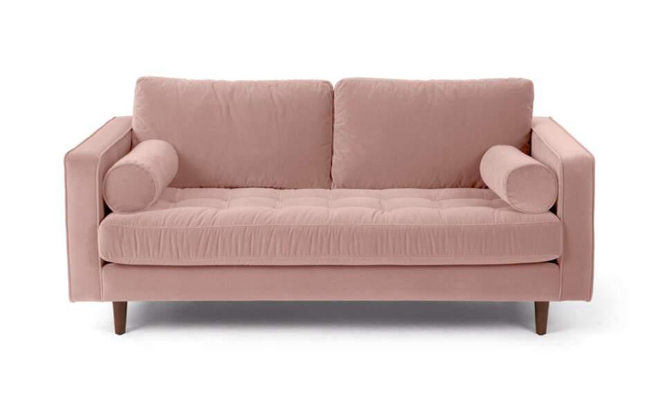 Canapé en velours rose