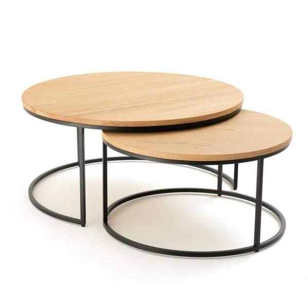 Tables en chêne et métal