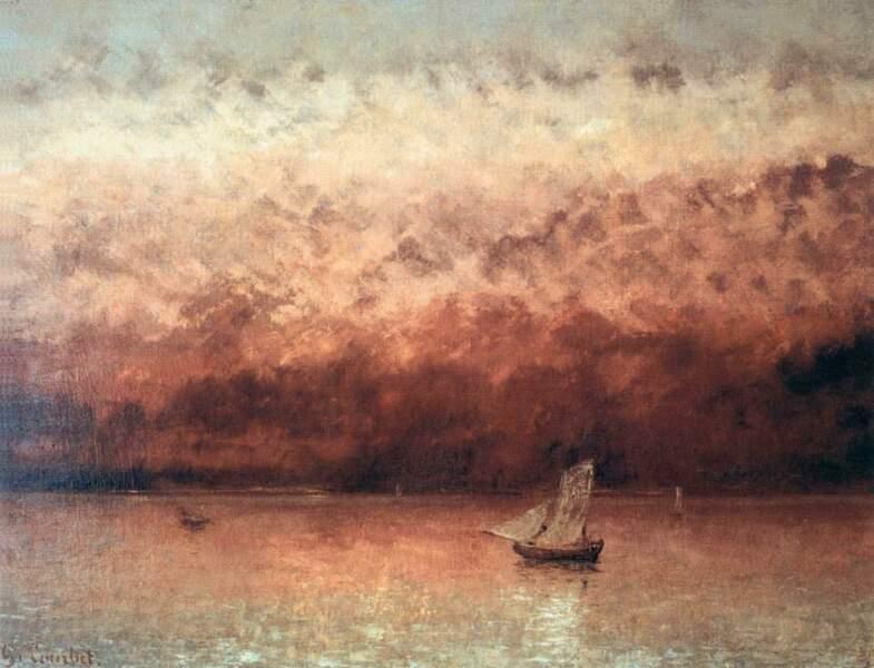 Coucher de soleil sur le lac Léman par Gustave Courbet