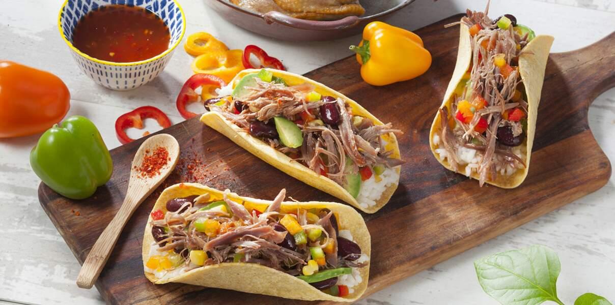 Tacos tex mex au confit de canard en effiloché