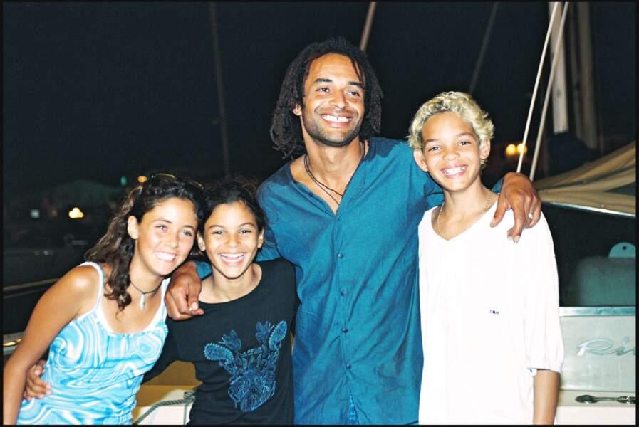 Yannick Noah et ses enfants Joakim et Yelena